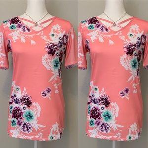 Tops - Crisscross neck floral top